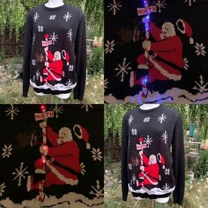 TARGET Ugly Christmas Sweater Light Up Santa Sz L